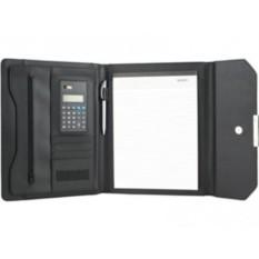 Черная папка для документов с блокнотом и калькулятором