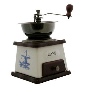 Механическая кофемолка, вишнево-белая