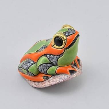 Керамическая статуэтка с позолотой Лягушка на листе