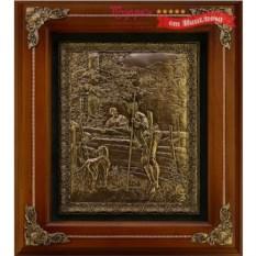 Деревянное панно Охотник с собакой