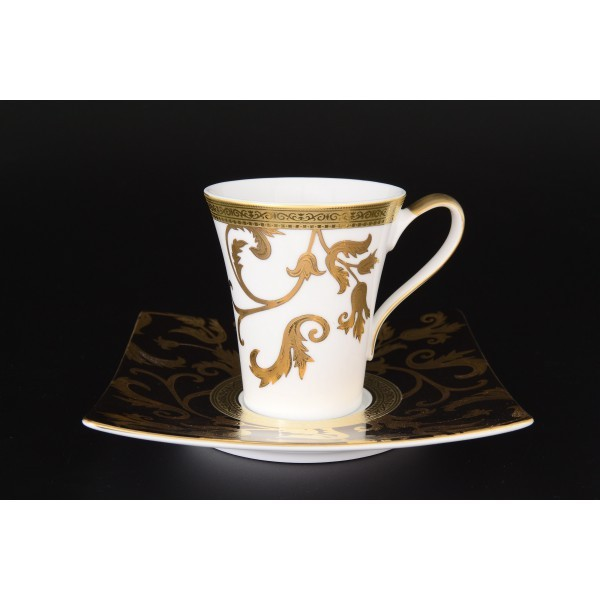 Набор чайных пар Квадрат Tosca Black Gold