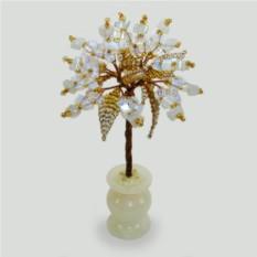 Миниатюрное дерево из лунного камня в вазочке из оникса
