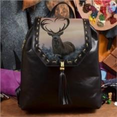 Женский кожаный рюкзак ручной работы Олень любви