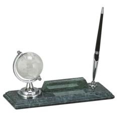 Мраморный настольный набор из глобуса, визитницы и ручки