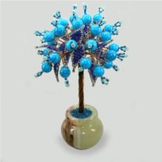 Дерево из бирюзы Афина в вазочке из оникса