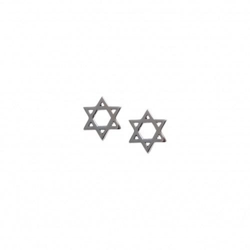 Серебряные серьги-пусеты Звезда Давида