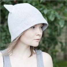 Серая хлопковая шляпа с ушками