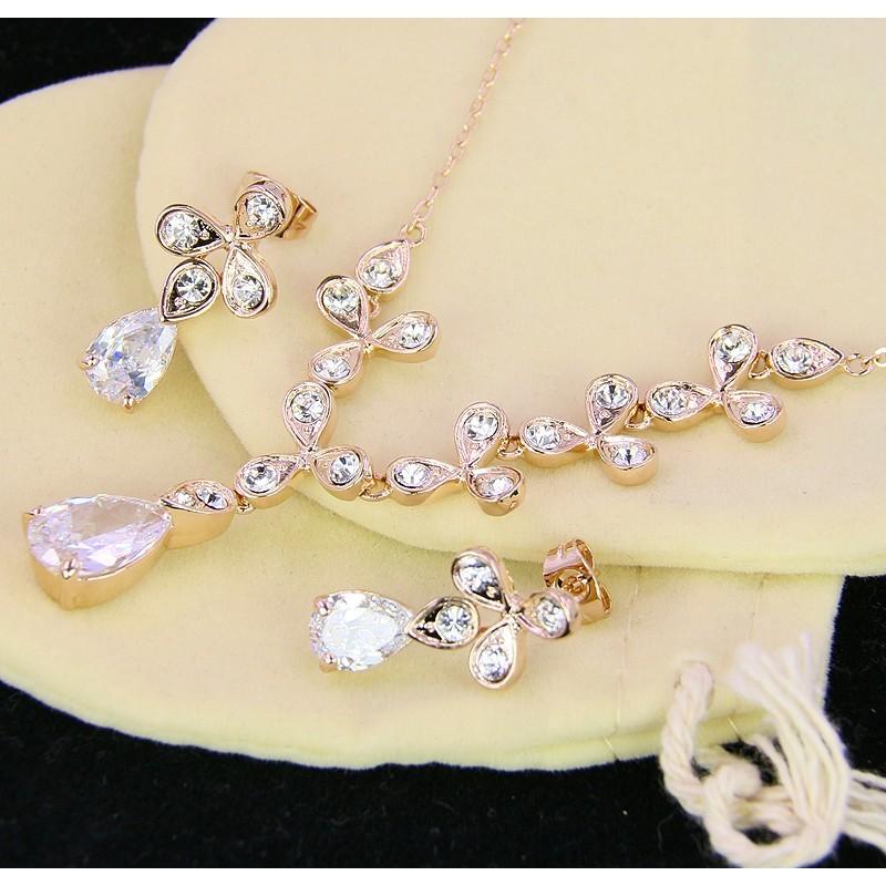 Комплект «Цветы невесты» с австрийскими кристаллами
