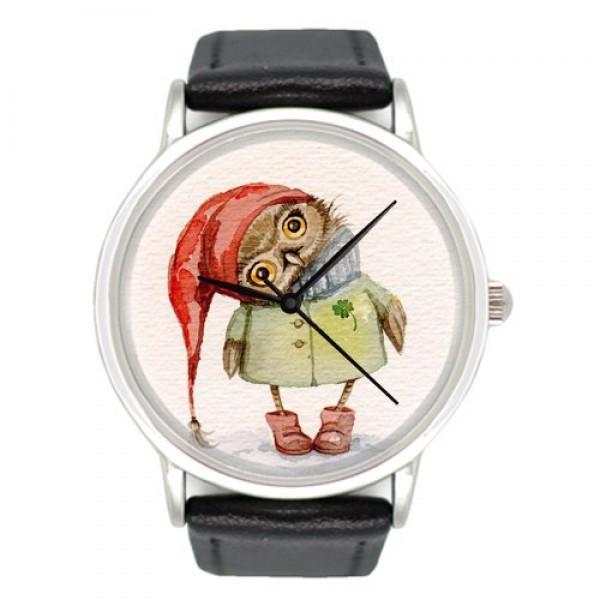 Наручные часы с принтом Сова в красном колпаке