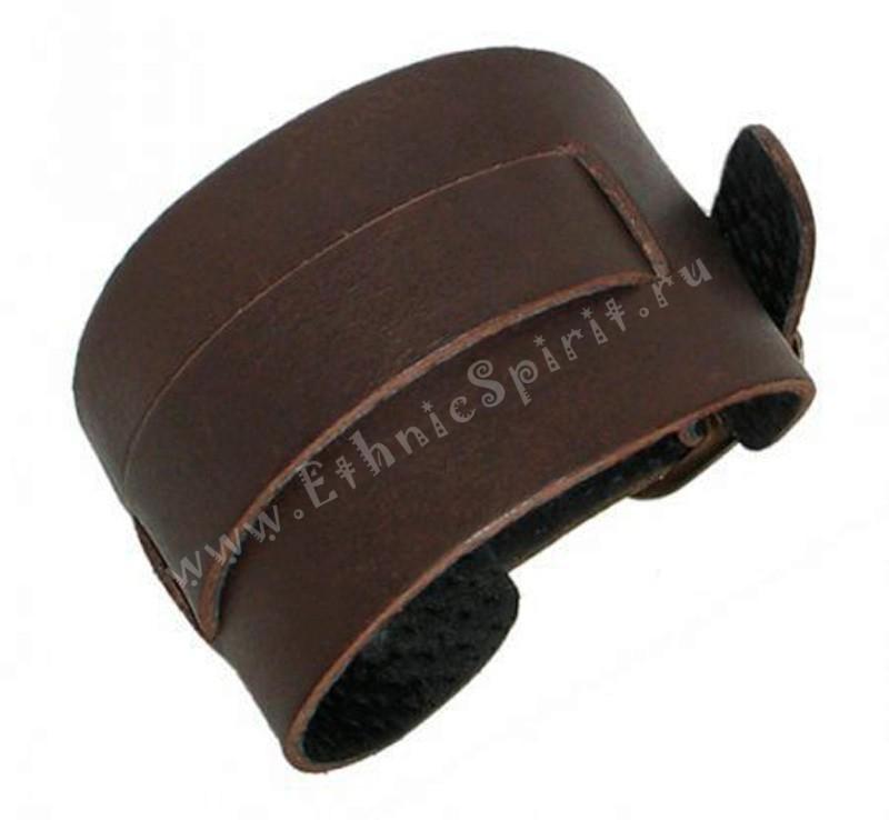 Коричневый широкий кожаный браслет в стиле сasual под часы