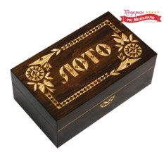 Подарочное лото в деревянной резной шкатулке