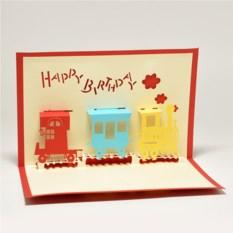 Объемная 3D открытка С днем рождения. Поезд