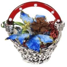 Рождественская корзинка с синими листьями