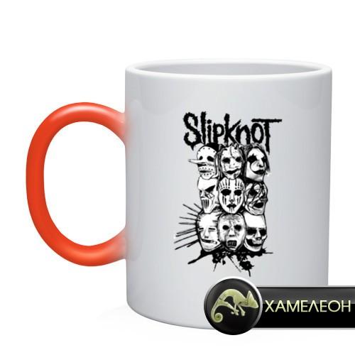 Кружка-хамелеон Slipknot black and white