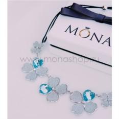 Колье «Клевер» цветочное с голубыми вставками