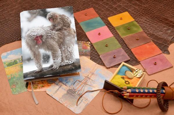 Белый кожаный ежедневник Две снежные обезьяны Elole Design