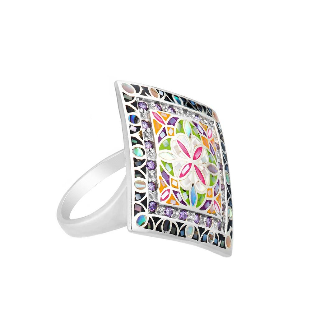 Серебряное кольцо с перламутром, эмалью и цветными фианитами