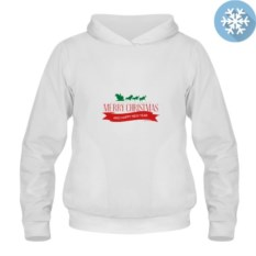 Белая утепленная кенгурушка Merry Christmas