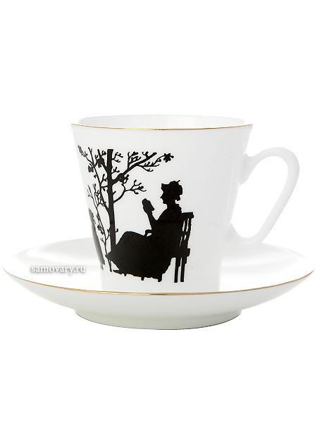 Кофейная чашка с блюдцем, форма Черный кофе рисунок Семья