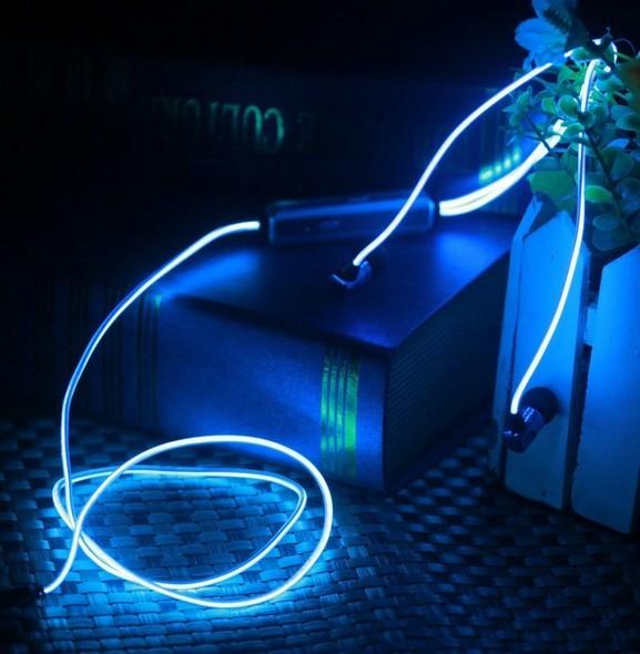 Светящиеся наушники Glow (EL Свечение) Синий