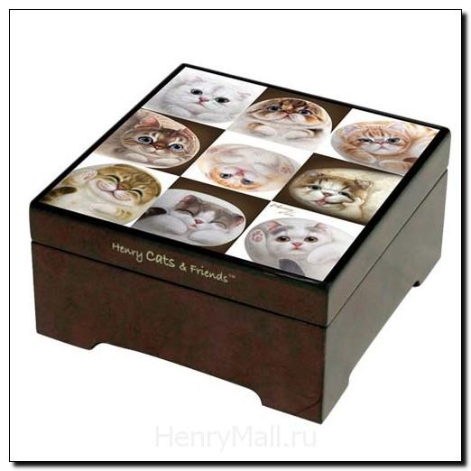 Музыкальная шкатулка «Кошки в клетках» с зеркалом