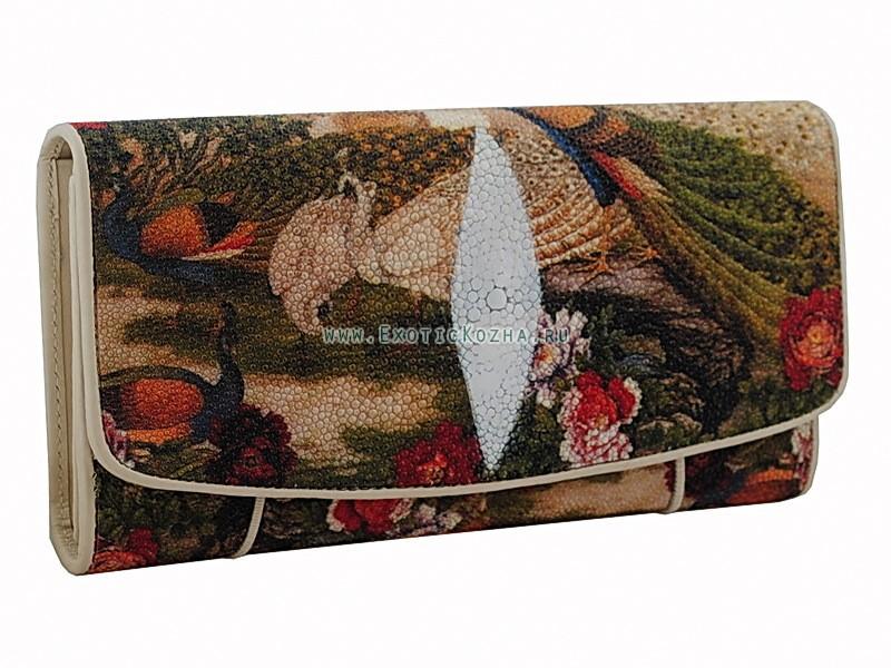 Женский кошелек из натуральной кожи ската