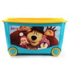 Голубой ящик для игрушек на колесах Маша и медведь