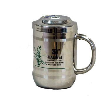 Кружка термос серебряная 350мл.с ситом+ложка