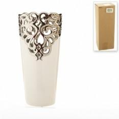 Керамическая декоративная ваза Серебристое кружево