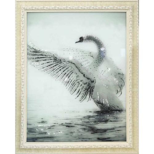 Картина Сваровски Белый Лебедь
