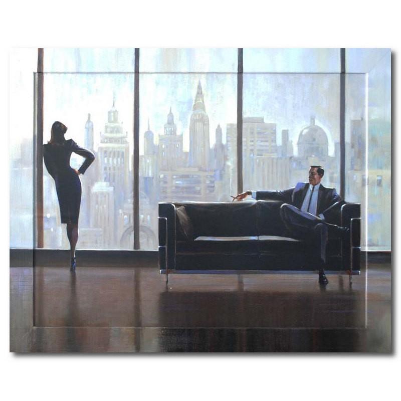 Картина Офис, мужчина на диване, (репродукция с подрисовкой на раме)