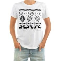 Мужская новогодняя футболка Зимний узор с оленями