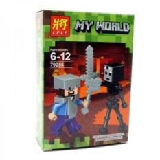 Конструктор Lele Minecraft Стив и скелет