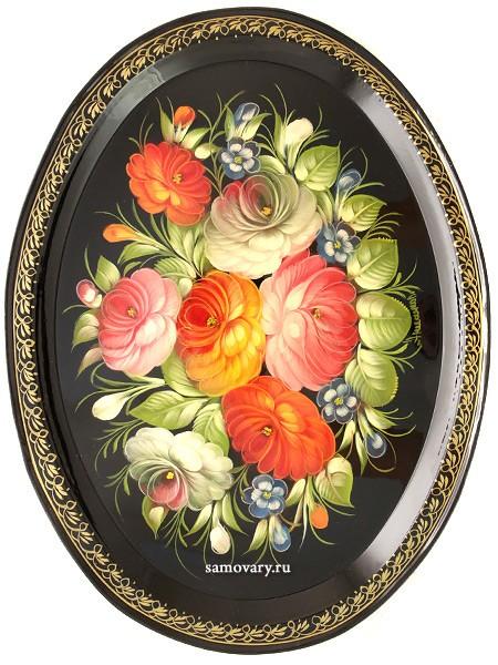 Поднос с художественной росписью Цветы на черном фоне
