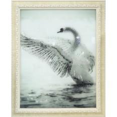Картина с кристаллами Swarovski Белый лебедь