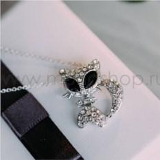 Кулон «Киска с черными глазами» с белыми кристаллами