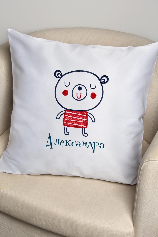 Декоративная наволочка с именной вышивкой Мишка