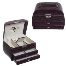 Темно-бордовая шкатулка для украшений, размер 24х16х16 см