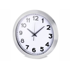 Настенные серебристые часы с большими цифрами