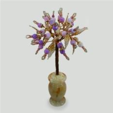 Дерево жизни из сиреневого агата в вазочке из оникса