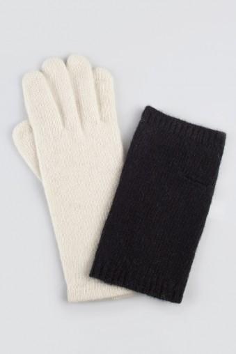 Перчатки Дабл, бело-черные