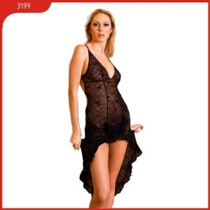 Платье и стринги, черное, с открытой спиной