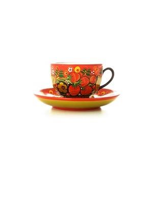 Чайная пара с росписью Хохлома на красном фоне