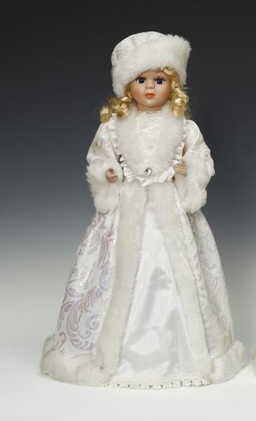 Фигурка Снегурочка в кремово-золотистой шубе