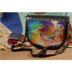 Женская сумка-седло с принтом Акварельная красота