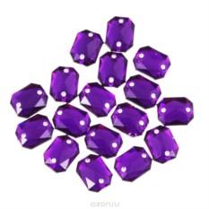 Стразы пришивные, прямоугольные, темный пурпур, 18 шт