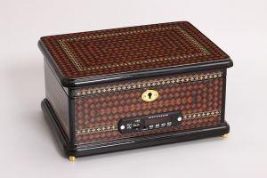 Музыкальная шкатулка с mp3, коричневая с узором