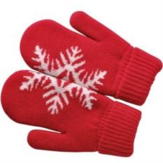 Красные варежки Сложи снежинку! с теплой подкладкой