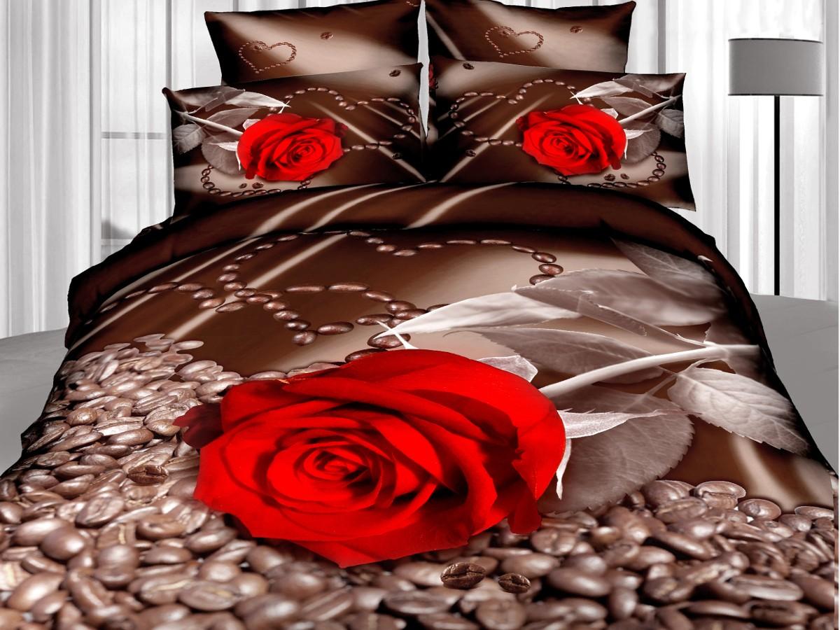 Евро комплект постельного белья 3D, кофе и роза