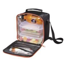Черная сумка-холодильник с 2 пластиковыми коробками